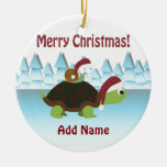 Merry Christmas! Turtle and Snail Ceramic Ornament