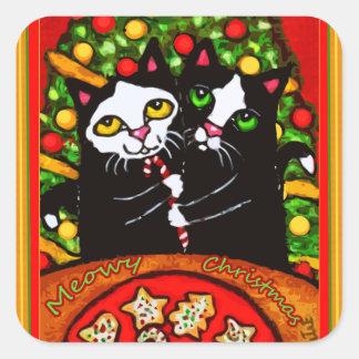 Merry Christmas Tuxedo Cat Couple Stickers