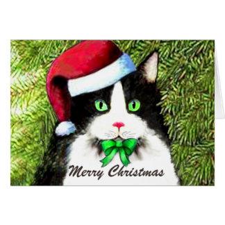 Merry Christmas Tuxedo Cat in Santa Hat Card