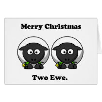 Merry Christmas Two Ewe To You Cartoon Card