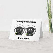 Merry Christmas Two Ewe To You Cartoon Holiday Card