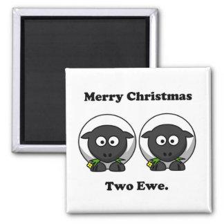 Merry Christmas Two Ewe To You Cartoon Magnet