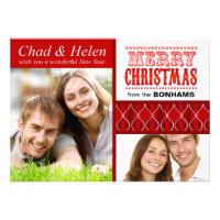 Merry Christmas Two Photo Collage Card Invites