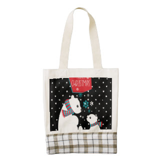 Merry Christmas Two Polar Bears Zazzle HEART Tote Bag