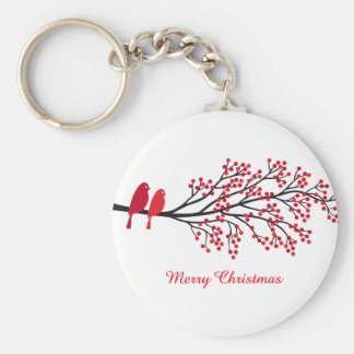 Merry Christmas, two red birds on winter tree Basic Round Button Keychain