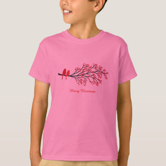 Merry Christmas, two red birds on winter tree T-Shirt