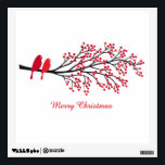 """Merry Christmas, two red birds on winter tree Wall Sticker<br><div class=""""desc"""">Merry Christmas,  two red birds on winter tree branch with red berries,  design for Christmas cards,  sticker,  gift tags,  mugs,  gift for her,  gift for him</div>"""