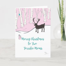 Merry Christmas Two Terrific Moms, Whimsical Holiday Card