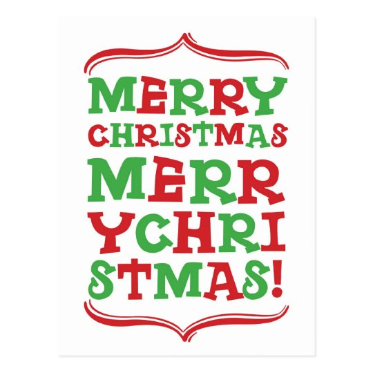 Merry Christmas Type Postcard
