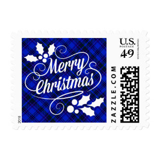 Merry Christmas Typography   blue plaid Postage Stamp