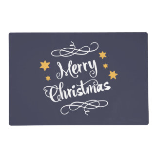 Merry Christmas Typography Blue White Placemat