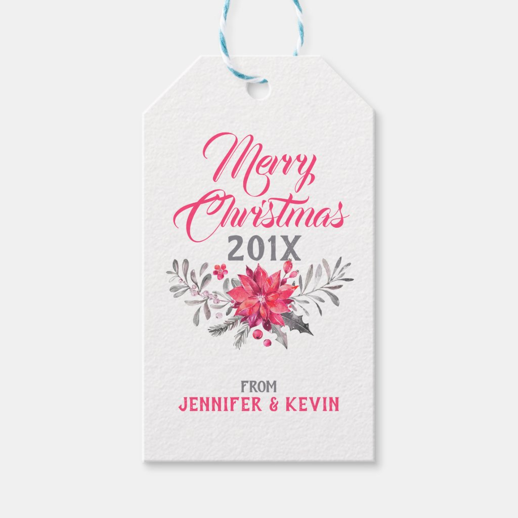Merry Christmas Typography & Christmas Bouquet