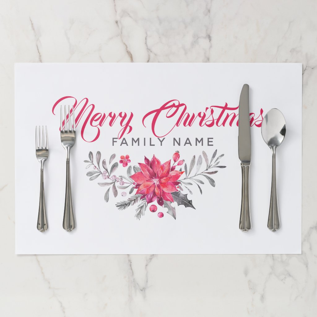Merry Christmas Typography & Christmas Flowers Paper Placemat