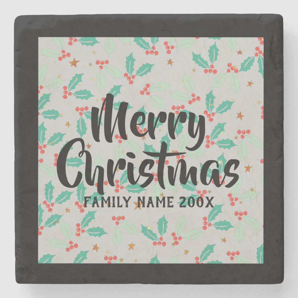 Merry Christmas Typography Christmas Holly