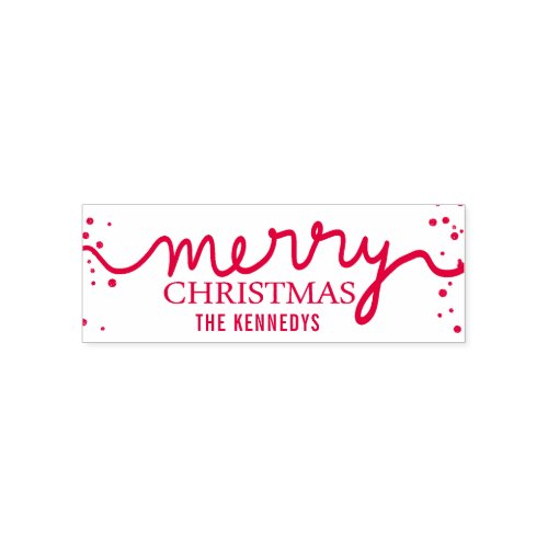 Merry Christmas Typography Family Name Self_inking Stamp