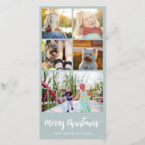 Merry Christmas Typography Five Photo Collage Holiday Card