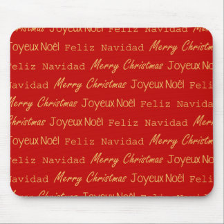 Merry Christmas Typography French Spanish on Red Mousepads
