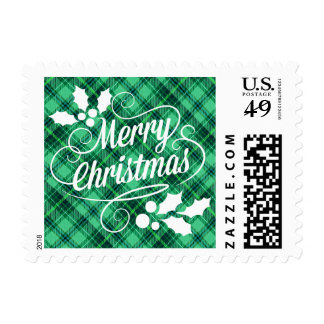 Merry Christmas Typography | green plaid Postage