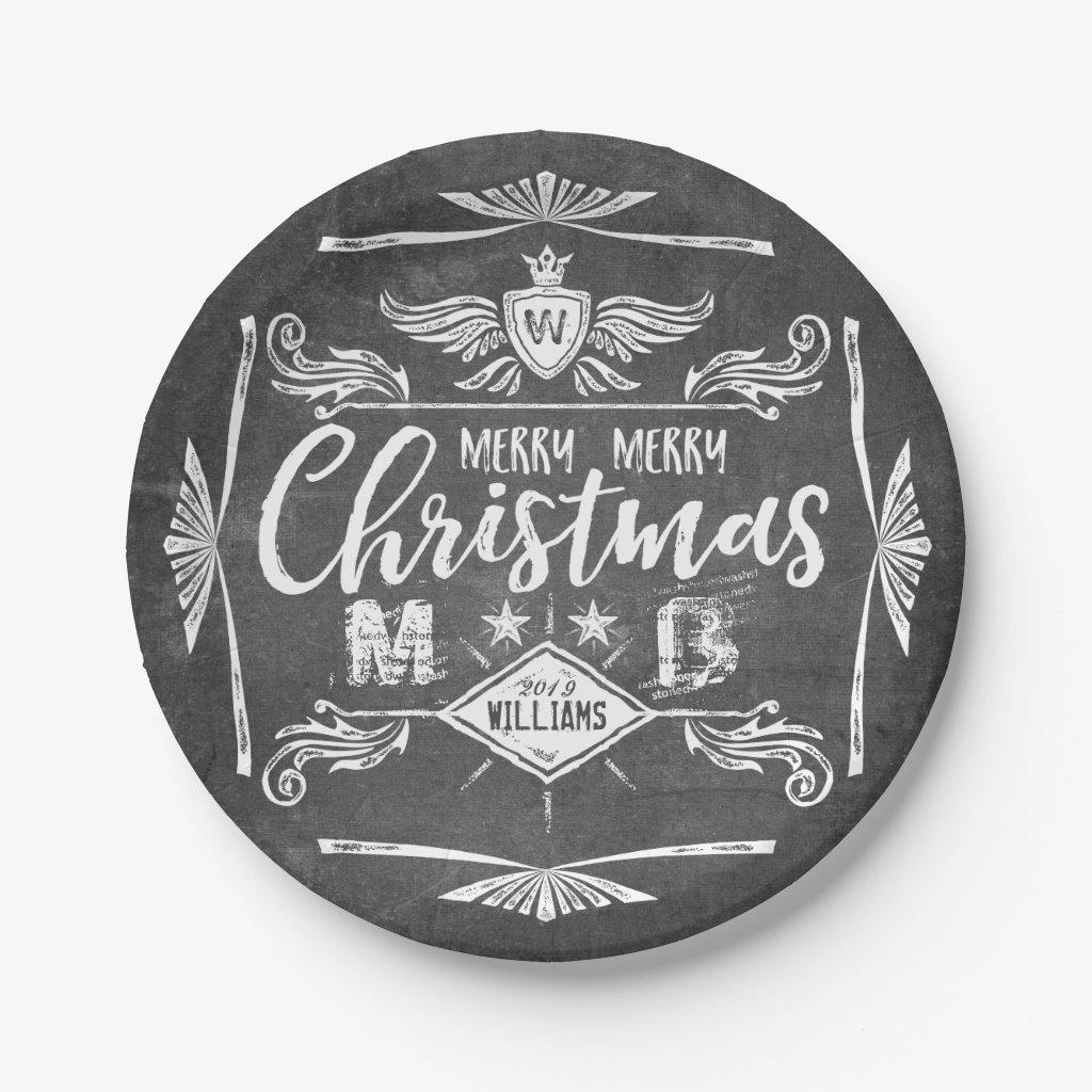 Merry Christmas Typography Grunge Chalkboard Retro