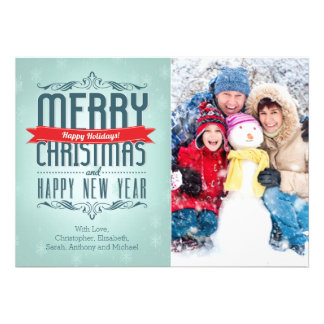 Merry Christmas Typography Holiday Photo Card Custom Invites