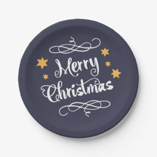 Merry Christmas Typography Light Blue White Paper Plate
