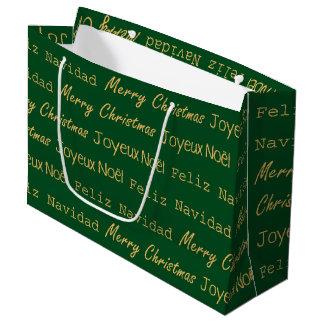 Merry Christmas Typography Noel Navidad Gold Green Large Gift Bag