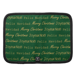 Merry Christmas Typography Noel Navidad Gold Green Folio Planner