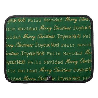 Merry Christmas Typography Noel Navidad Gold Green Organizer