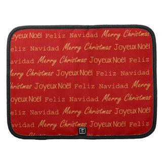Merry Christmas Typography Noel Navidad Gold Red Planners