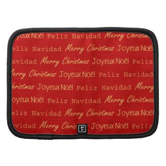 Merry Christmas Typography Noel Navidad Gold Red Organizer