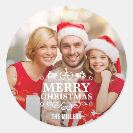 Merry Christmas Typography Overlay Custom Photo Classic Round Sticker