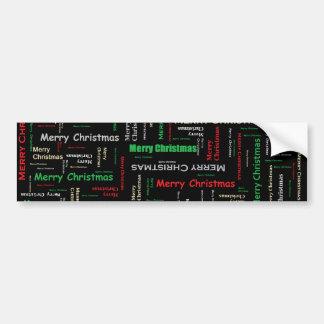 Merry Christmas Typography Pattern Car Bumper Sticker