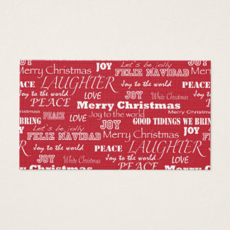 Merry Christmas Typography Pattern Business Card
