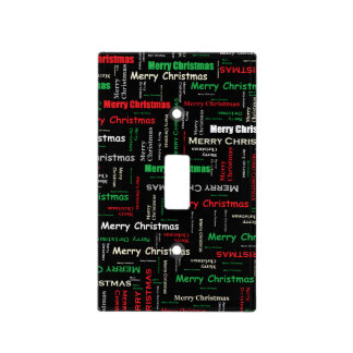 Merry Christmas Typography Pattern Light Switch Cover