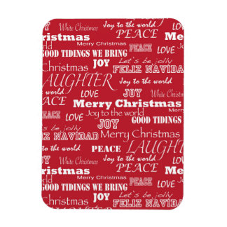 Merry Christmas Typography Pattern Magnet