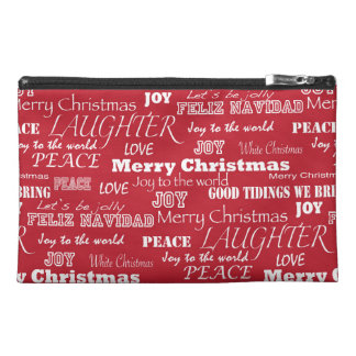 Merry Christmas Typography Pattern Travel Accessory Bag