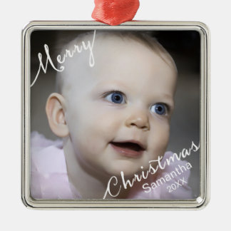 Merry Christmas Typography Photo & Year Custom Square Metal Christmas Ornament