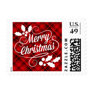 Merry Christmas Typography | red plaid Postage