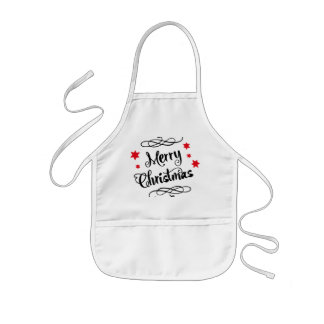 Merry Christmas Typography Red White Kids' Apron