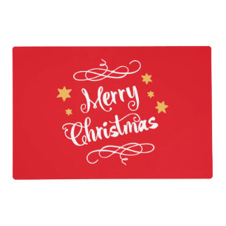 Merry Christmas Typography  Red White Placemat
