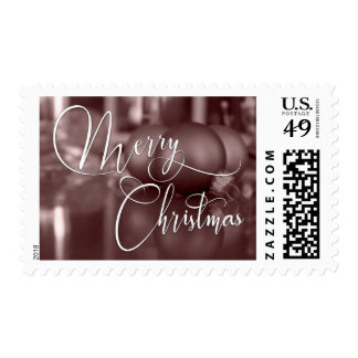 Merry Christmas Typography & Rose Gold Ornaments Postage