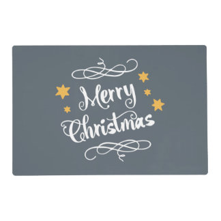 Merry Christmas Typography  Slate Gray White Placemat