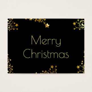 Merry Christmas Typography Stars Black Gold Chic Business Card