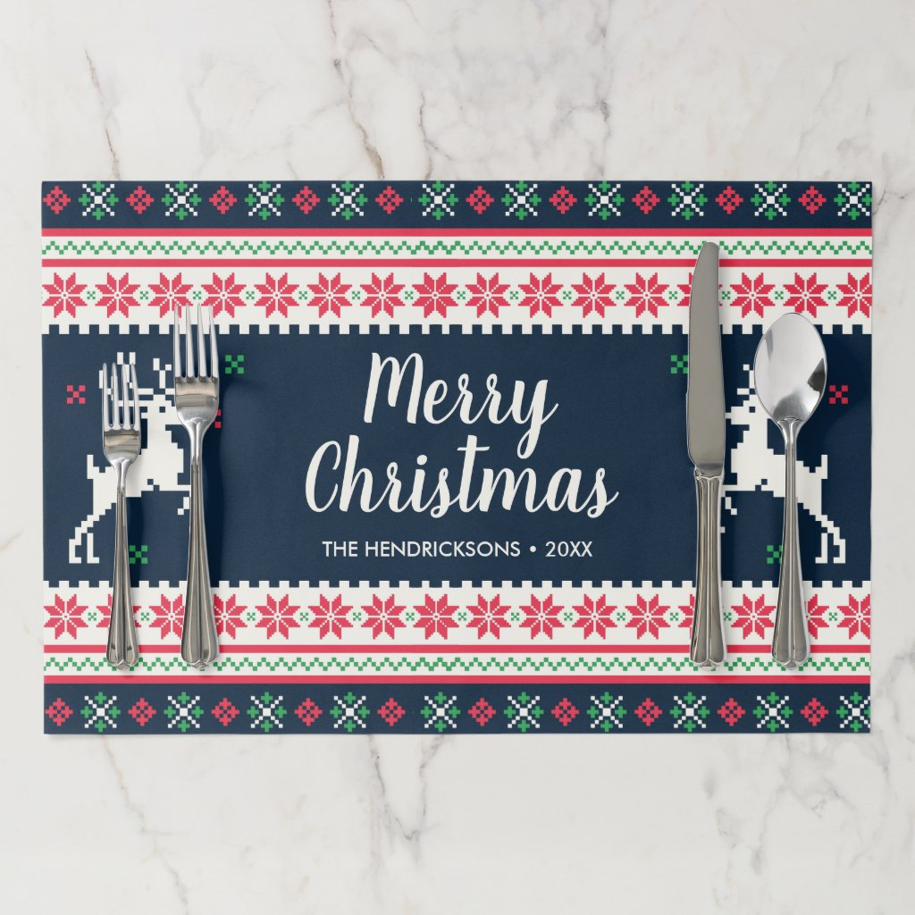 Merry Christmas Ugly Christmas Sweater Custom Text Paper Placemat