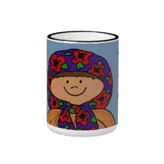 Merry Christmas Ukrainian Girl Folk Art Ringer Mug