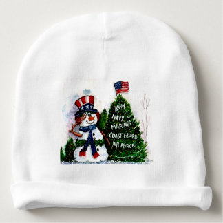 merry christmas usa military snowman baby hat