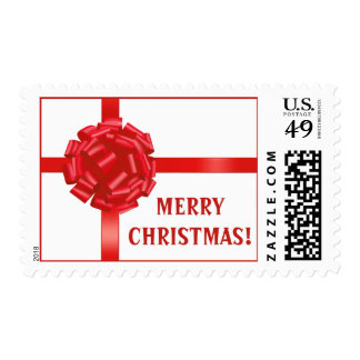 Merry Christmas USA Postage Stamp Postal Red Bow