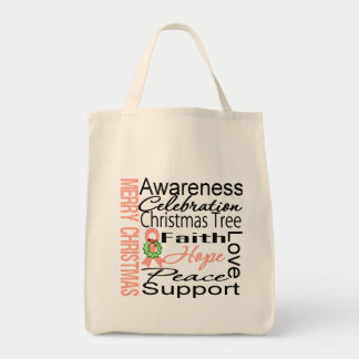 Merry Christmas Uterine Cancer Ribbon Collage Bag