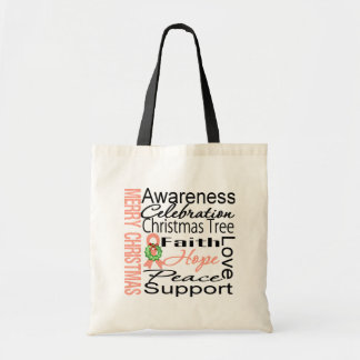 Merry Christmas Uterine Cancer Ribbon Collage Tote Bag