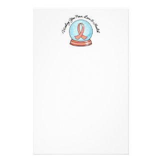 Merry Christmas Uterine Cancer Ribbon Snowglobe Custom Stationery